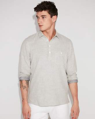 Express Slim Stripe Long Sleeve Popover Shirt