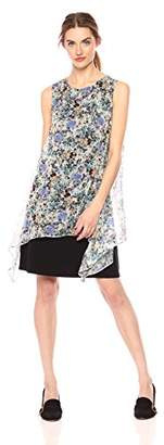 Daisy Drive Women's Asymmetric Floral Printed Chiffon Dress with Knit Underlayer