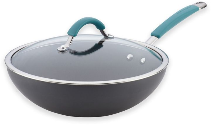 Rachael RayTM Cucina Hard-Anodized 11-Inch Covered Stir Fry Pan in Agave Blue