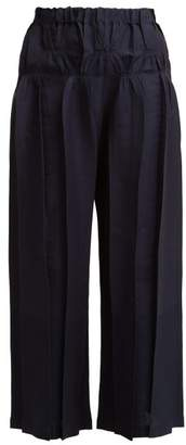 Issey Miyake Press Creased Wide Leg Trousers - Womens - Navy