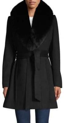 Sofia Cashmere Fox Fur-Trimmed Tie-Waist Coat
