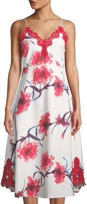 Trendsetting Designer Juliet Sleeveless Lace-Trimmed Floral Midi Dress