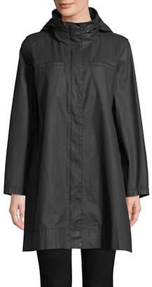 Eileen Fisher A-Line Mock Button Jacket