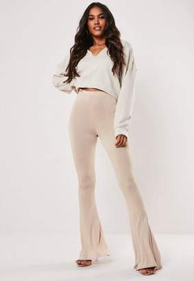 Missguided Stone Jersey Flare Pants