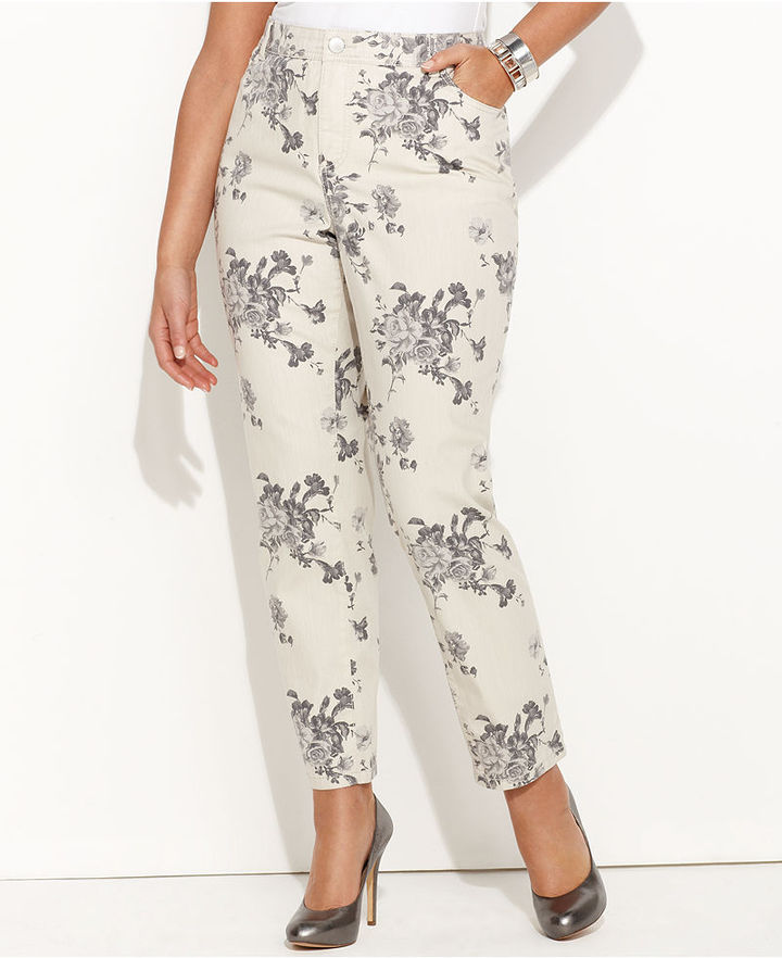 INC International Concepts Plus Size Jeans, Skinny Ankle-Length Printed, Floral Bouquet
