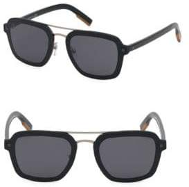 Ermenegildo Zegna Men's 64MM Metal Pilot Sunglasses - Black