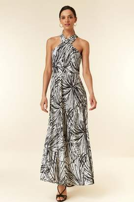 WallisWallis Monochrome Palm Printed Maxi Dress