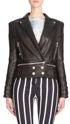 Balmain Leather Zip-Front Jacket