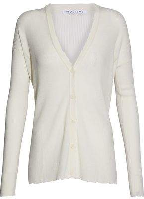 Helmut Lang Distressed Ribbed Wool Cardigan