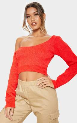 PrettyLittleThing Red V Neck Off Shoulder Soft Knitted Crop Jumper