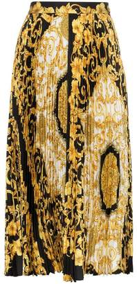 Versace Baroque-print pleat skirt