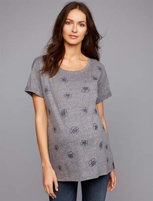 A Pea in the Pod Cuffed Embroidery Maternity Top