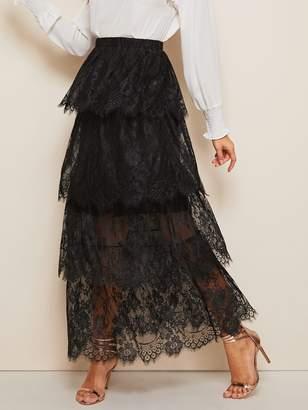 Shein Layered Eyelet Lace Overlay Maxi Skirt