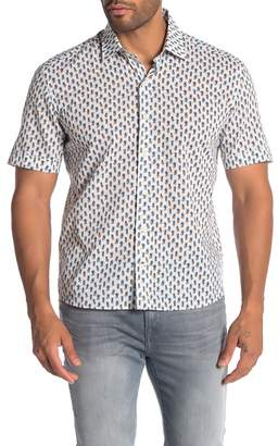Culturata Short Sleeve Pineapple Print Contemporary Fit Woven Shirt
