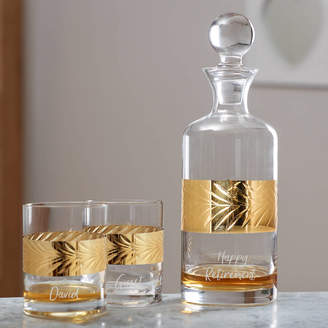 Dibor Gold Etched Brandy Decanter Gift For Him