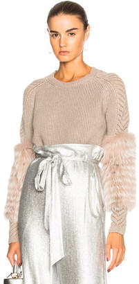 Sally Lapointe Cashmere Sweater with Lavender Fox Fur
