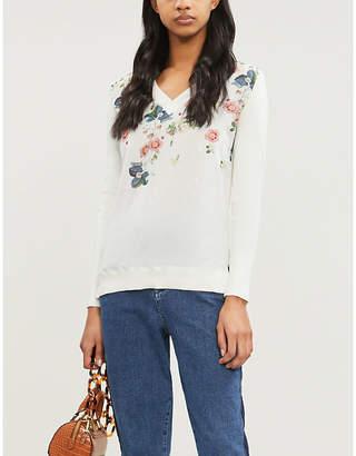 Ted Baker Casanda Oracle-print V-neck cotton-silk blend jumper