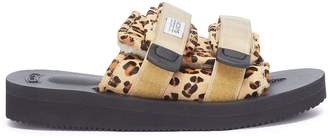 Suicoke 'MOTO-VHL' leopard print strappy band calf fur slide sandals