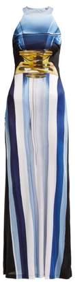 Mary Katrantzou Imaan Perfume Bottle Print Maxi Dress - Womens - Blue Multi