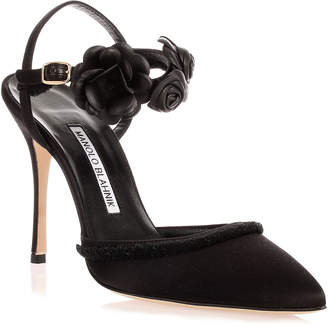 Manolo Blahnik Volvona black flower pump