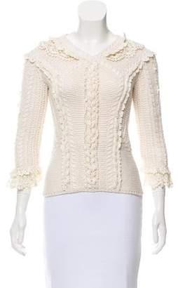 Oscar de la Renta Rib Knit Crochet-Trimmed Sweater
