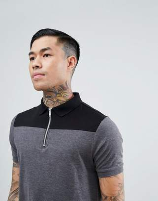 Asos Design Contrast Panel Polo With Zip Neck In Grey