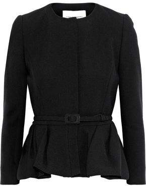 Carolina Herrera Belted Wool And Cotton-Blend Crepe Peplum Blazer