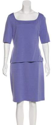 St. John Wool-Blend Short Sleeve Dress