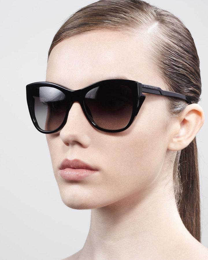 Stella McCartney Sunglasses Squared Cat-Eye Sunglasses, Black
