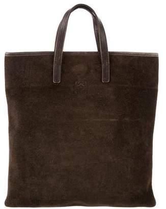 Loewe Leather-Trimmed Suede Tote