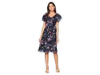 Tahari ASL Chiffon Floral Midi Dress