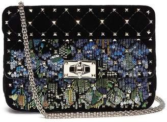 Valentino 'Rockstud Spike' embellished small quilted velvet crossbody bag