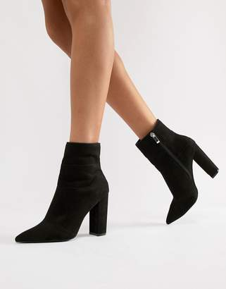Qupid Pointed Block Heel Ankle Boots