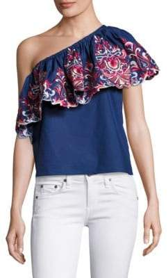 2d2d99b5f9ed4d Parker Embroidered One-Shoulder Ruffle Top