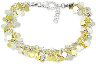 Giani Bernini Two-Tone Shaky Disk Link Bracelet in Sterling Silver & 18k Gold-Plate, Created for Macy's