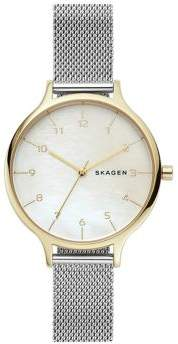 Skagen Anita Mother-of-Pearl and Two-Tone Stainless Steel Bracelet Watch