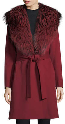 Fleurette Wrap Coat with Silver Fox Collar