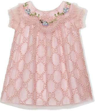 048377e34 Gucci Kids Baby GG embroidered tulle dress