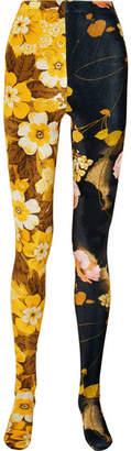 Richard Quinn - Floral-print Velvet Leggings - Yellow