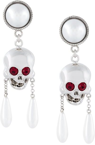 Moschino Moschino skull drop clip-on earrings