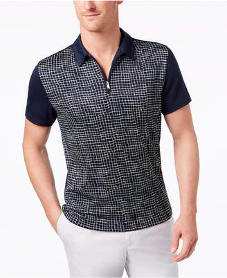 Alfani Men's Grid-Print 1/4-Zip Polo, Created for Macy's