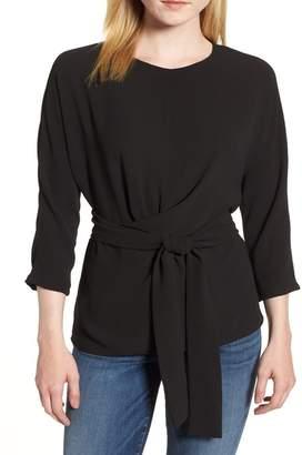 Gibson Dolman Sleeve Tie Back Stretch Crepe Blouse (Regular & Petite)