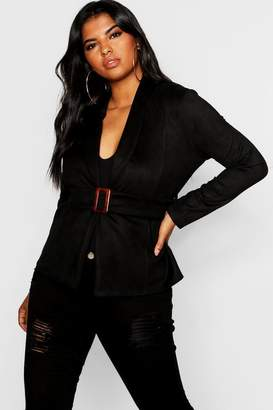boohoo Plus Suedette Buckle Jacket