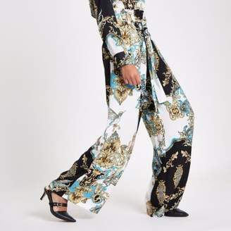 River Island Womens Blue baroque print paperbag wide leg pants
