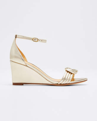Alexandre Birman Vicky Metallic Leather Wedge Sandals