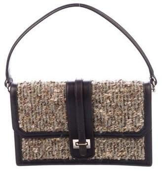 Oscar de la Renta Leather-Trimmed Bouclé Bag