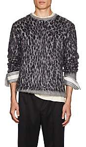Needles Men's Leopard-Jacquard Mohair-Blend Sweater - Gray