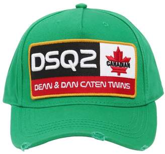 DSQUARED2 EMBROIDERED PATCH COTTON CANVAS HAT