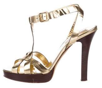 Michael Kors Metallic Leather Ankle Strap Sandals