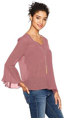 Amy Byer A. Byer Women's Long Sleeve V-Neck Top With Tie Back (Junior's)
